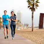 Laufen am Strand von Barcelona