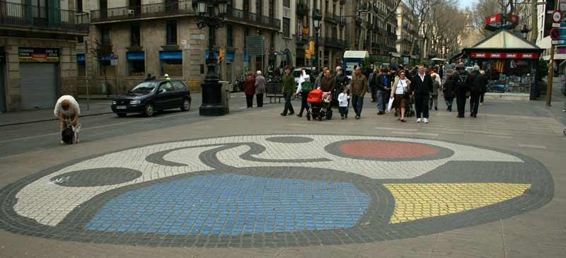 Pla de l' Os von Joan Mirò. Ramblas in Barcelona