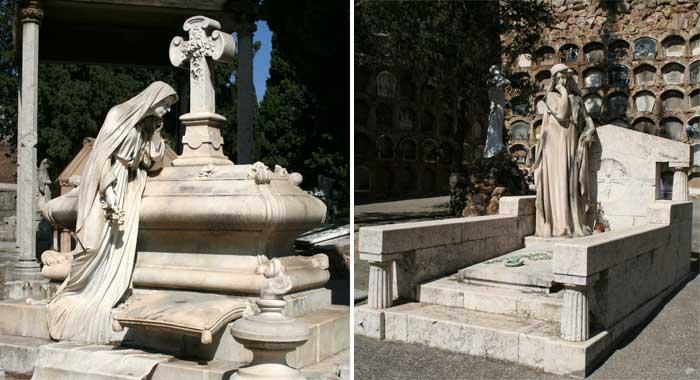 Modernistische Grabmäler im Friedhof Montjuïc